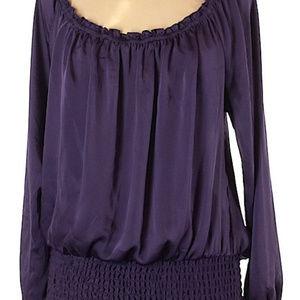 Michael Kors purple boho long-sleeve top sz M